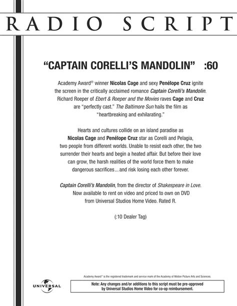 radio script captain corelli s mandolin exles of work