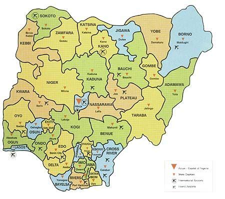 map of nigeria with states map of nigeria showing 36 states and capital