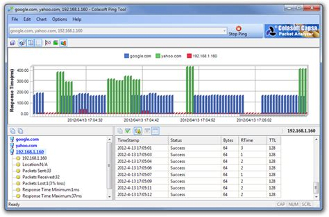 colasoft ping tool ping ip addresses compare response