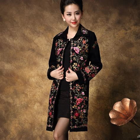 Embroidered Coat embroidered trench coat for 2015 new arrival