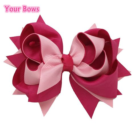 Ribbon Layer 1 1pcs 5 inches baby boutique hair bows 3 layer solid
