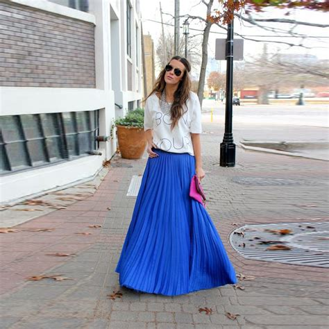 top fashion blue chiffon skirts a line floor length