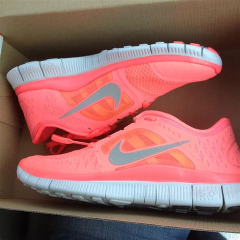 shoes nike trainers neon coral orange pattern