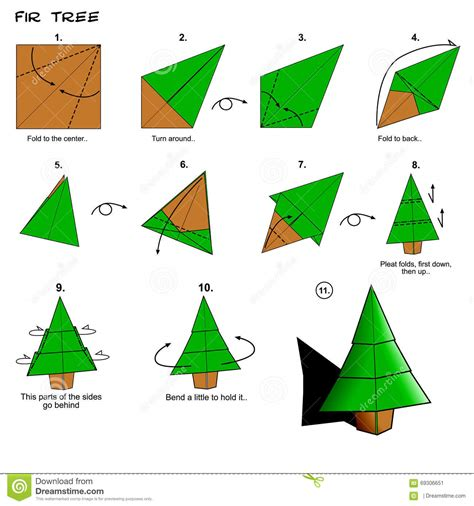 How To Make Paper From Trees Step By Step - origami tree steps stock illustration image 69306651