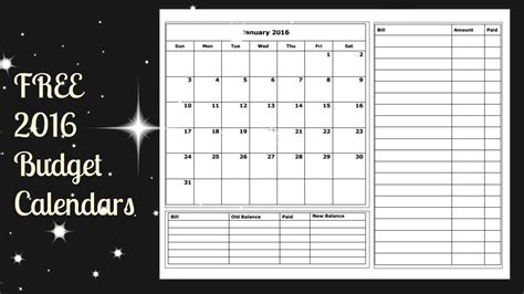 monthly budget calendar template free budget calendar 2016 printable calendar template 2016