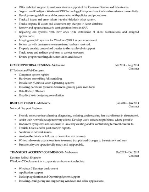 desktop support resume exles resume desktop support engineer