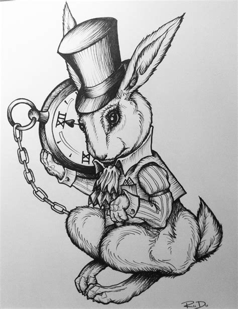 white rabbit alice in wonderland tattoo white rabbit