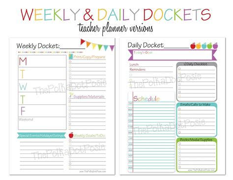 free printable daily planner for teachers the polka dot posie new teacher homeschool planners