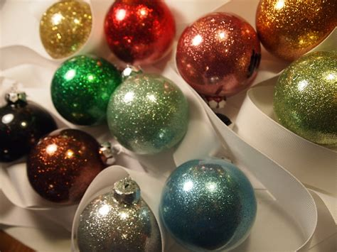 handmade christmas glittered christmas bauble ornament
