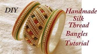 Handmade Threads - diy how to make designer silk thread side bangles
