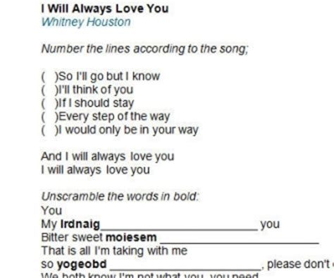 Buku Houston I Will Always You song worksheet i will always you by houston alternative