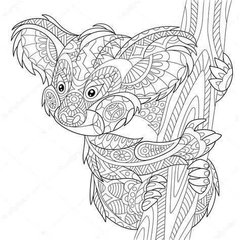 koala adults coloring book stress relief coloring book for grown ups books orso di koala stilizzato zentangle vettoriali stock
