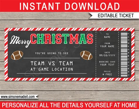 Christmas Gift Football Ticket Template Printable Football Gift Ticket Printable Football Ticket Template