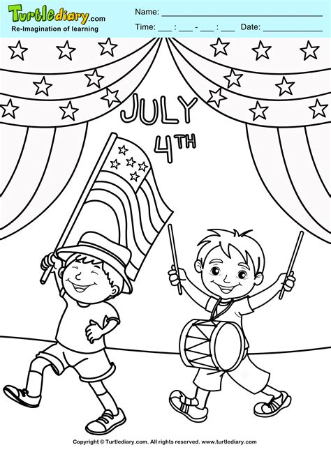 4th of july coloring sheets 4th of july parade coloring sheet turtle diary