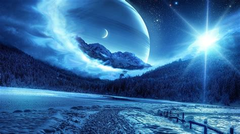 blue moon landscaping nature photo manipulation planet moon landscape snow mist starry