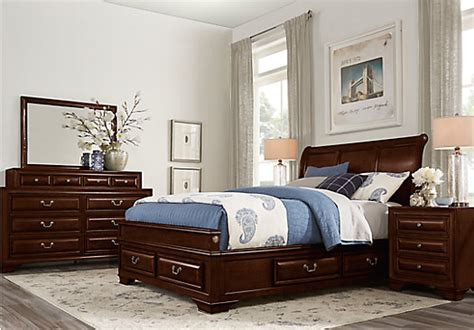 Rooms To Go Bedroom Sets For by Mill Valley Ii Cherry 5 Pc Sleigh Bedroom W Storage