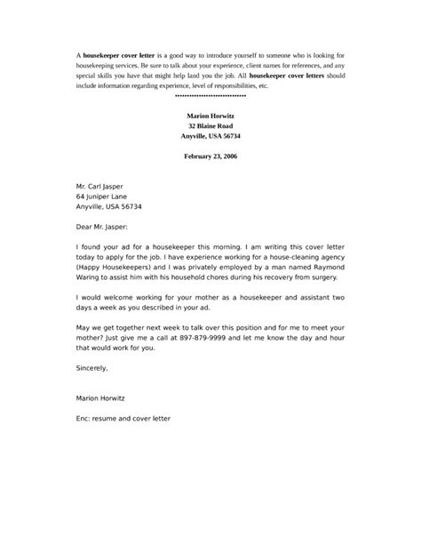 Housekeeping Aide Cover Letter by Basic Housekeeper Cover Letter Sles And Templates