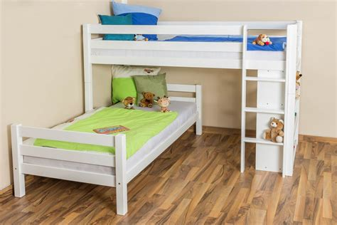 M S Bunk Beds Bunk Bed Children S Bed Phillip Solid Beech Wood With Shelf White Painted Incl Slatted