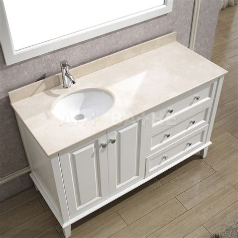 Vanity With Left Side Drawers by Lily 55 White Bathroom Vanity