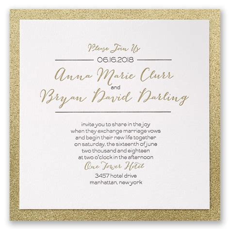 Gold Wedding Invitation Cards by Bold Gold Letterpress Invitation Invitations By