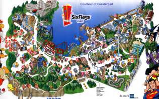 us map of six flags park maps