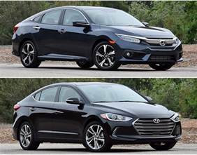 Hyundai Elantra Vs Honda Civic 2016 Honda Civic And Hyundai Elantra Photos To