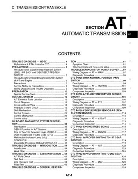 on board diagnostic system 2004 infiniti i parking system 2003 nissan xterra automatic transmission section at pdf manual 352 pages