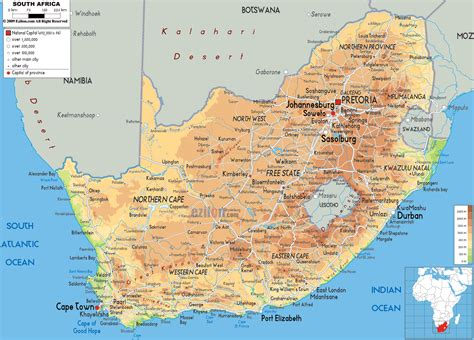 Physical Map of South Africa   Ezilon Maps