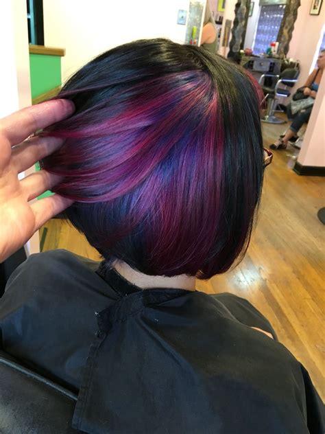 pravana hair cuts aaashleee instagram peekaboo color purple hair pravana