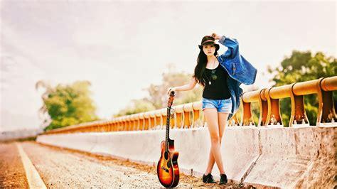 wallpaper girl with guitar guitar girl wallpaper high definition high quality
