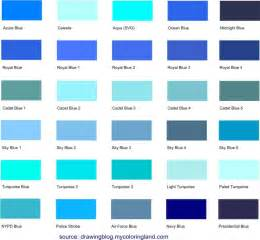 colors list different shades of blue a list with color names and
