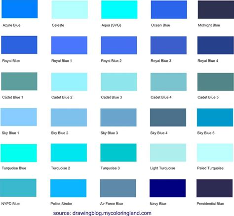 different shades of blue a list with color names and codes drawing