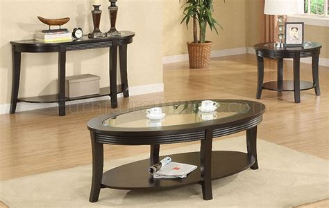espresso coffee table set espresso coffee console end table set w glass inlay