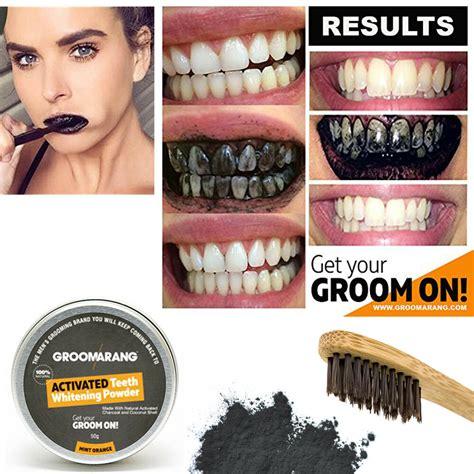 groomarang activated charcoal teeth tooth whitening powder