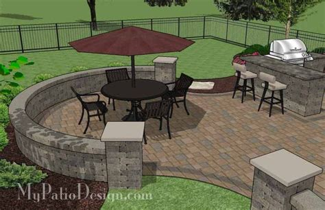 Patio Grill Designs Large Paver Patio Design With Grill Station Bar Plan No 1155rr Installation