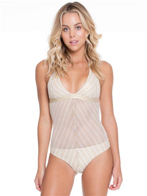Luli Fama Shiny White/gold 1 piece Mesh Swimsuit   Rainha Do Deserto