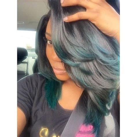 sew in hair gallery green tips weave extensions and black hair on pinterest