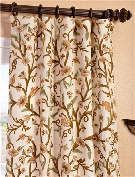 crewel curtains elise embroidered cotton crewel curtain drapes