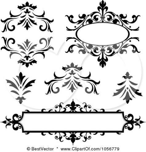 Black Decor digital collage of vintage black and white frames and