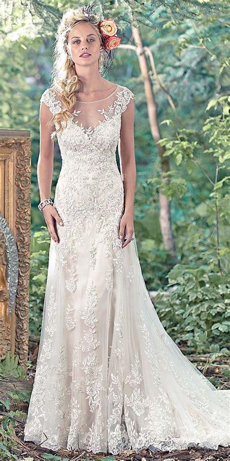 maggie sottero vintage lace wedding dress wearing white