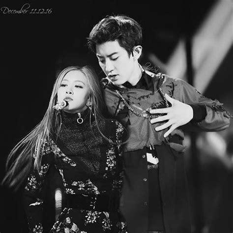 exo x blackpink k pop couple fantasy exo chanyeol blackpink rose kpopmap