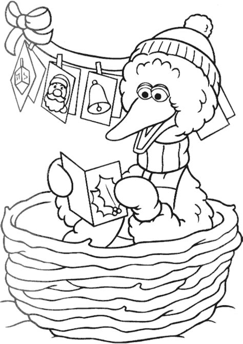 Christmas Big Bird Coloring Page Coloring Com Big Bird Coloring Pages