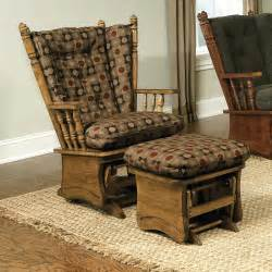 Glider Rocking Chair Replacement Cushions Brooks Furniture Wing Back Solid Panel Glider Rocker