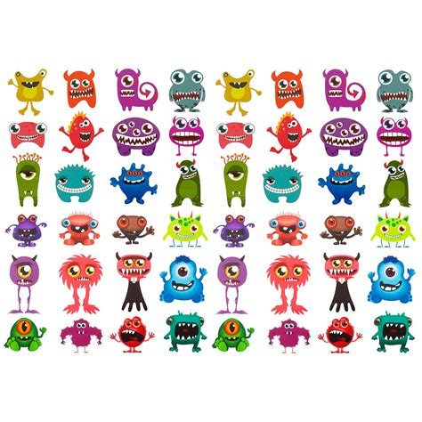 Monster Aufkleber Kaufen by 24 Oder 48 Lustige Bunte Monster Sticker Aufkleber F 252 R
