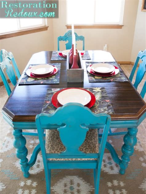 turquoise dining table restoration redoux