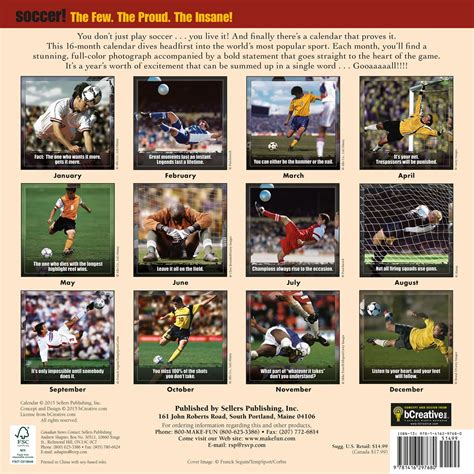 gifts for soccer fans soccer extreme sport calendar great gifts for soccer fans