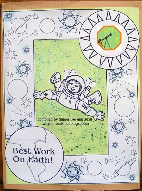 printable owl lapbook exporing space badge lapbook made by guider lee ann 2010