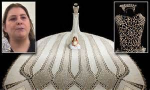 glimpse   worlds largest beaded wedding gown