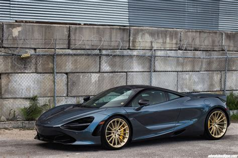 Blue Mclaren 720s Looks On Frozen Gold Custom Wheels