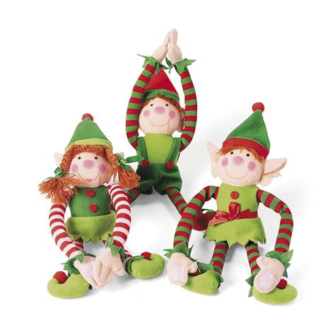 12 plush long arm christmas elves elf santas helpers white